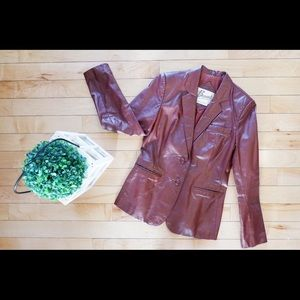 Vintage Berman's Leather Jacket Burgundy Women's 8